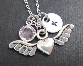 Heart Wings Necklace - Custom Couple's Necklace, Personalized Initial Name, Swarovski crystal birthstone