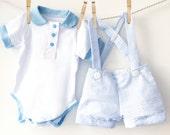 2 Piece Blue Shortall Set   Blue Seersucker Shorts and Bodysuit   Peter Pan Collar One Piece   Baby Boy Outfit   Boys Wedding Ringbearer