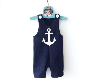 Denim Anchor Boys Overalls, Nautical Baby Jumpsuit, 1st Birthday Boy Outfit, 1st Birthday Nautical Overalls, Baby Sailor Outfit, Baby Romper