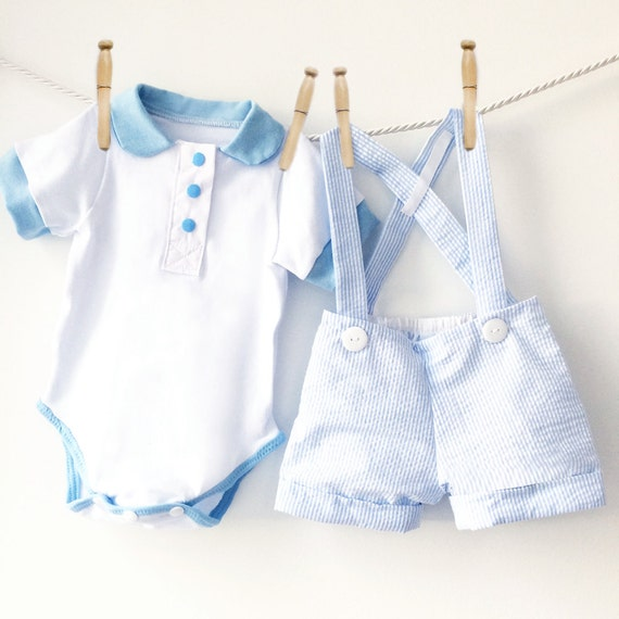 Baby Blue Seersucker Shortall Set | Boys Spring Outfit | 2 Piece Set