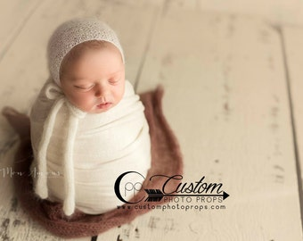 RTS Ivory Newborn Stretch Knit Baby Wraps, Almond Milk Lux, Newborn Photography Props, Neutral, Boy, Girl Custom Photo Props, Props for Boys