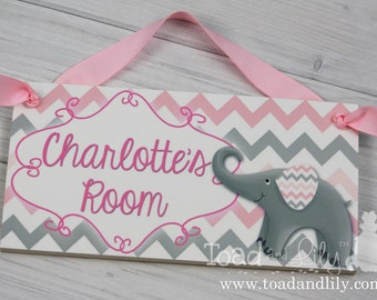 Girls Bedroom Baby Nursery Pink and Grey Chevron Elephant DOOR SIGN DS0088