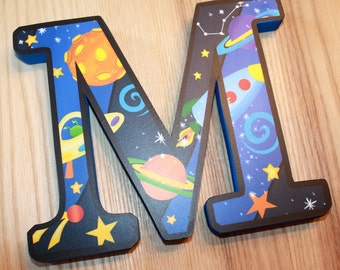 WOODEN WALL LETTERS Outerspace Boys Bedroom Baby Nursery Wall Name - Price Per Letter