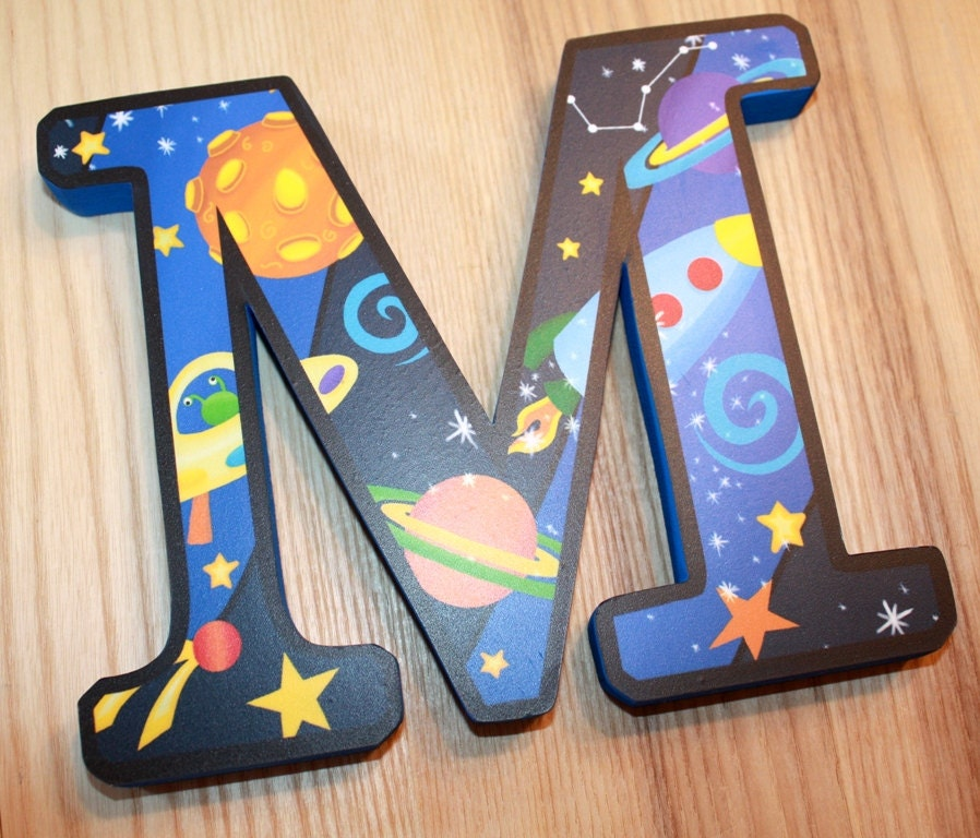 Wooden Wall Letters Outerspace Boys Bedroom Baby Nursery Wall