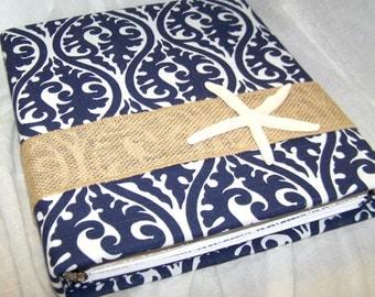 Wedding MEMORY BOOK / Wedding Scrapbook / Starfish Guest Book / Beach Wedding / Burlap and Navy Blue / Bridal Shower / Personalized Book