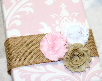 Gift Recording Book / Book to record gifts / Bridal Shower Gift Book / Wedding Guest Book / Light Pink and Burlap / Blush Pink Bridal Shower