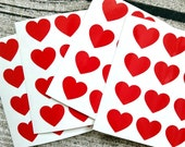 48 Red heart stickers, Red heart mini decals, Red heart envelope seals, for packaging, gift wrapping or wedding invitations