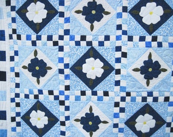 Quilted wall art wall hanging Blue and white applique flowers
