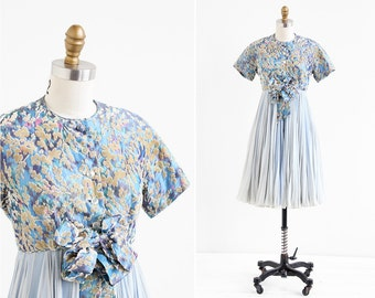 vintage 1960s dress / 60s Galanos dress / Blue Watercolor Silk Chiffon Party Dress by Galanos