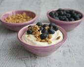 Prep Bowls Set of Three Ceramic Raspberry Glazed Kitchen Prep Bowls - Pink Purple Small Bowls Ready to Ship USA