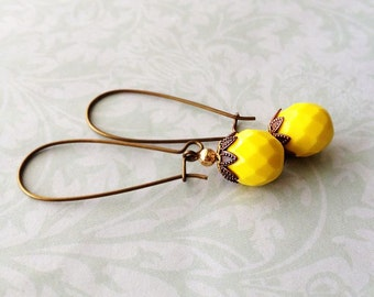 Yellow Faceted Glass Dangle Earrings on Brass Kidney Hooks