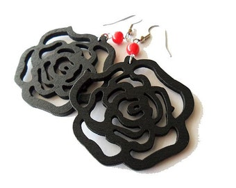 Black Wooden Rose Earrings with Red Glass Beads