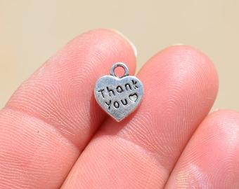 BULK 50 Silver Heart Shaped, Thank you Charms SC2499
