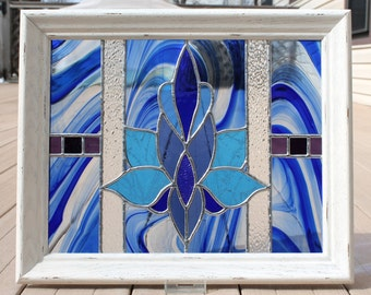 Shades of Blue Stained Glass Panel