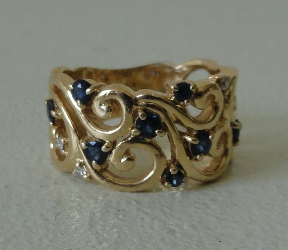 Sapphire Diamond and Gold Band Ring