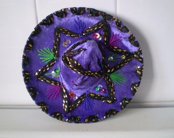 Vintage Purple Mini Sombrero For Pet