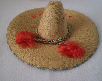 Vintage  Mini Straw Sombrero Hat For Pet