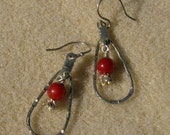 Red Coral Earrings - Lovely Silver Teardrop Perfect for the Holidays by JewelryArtistry - E437