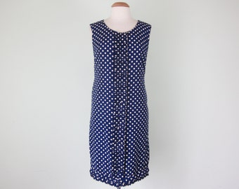 60s navy polda dot ruffle hem sleeveless shift party dress (m - l)