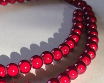 "Bead Wonder Cranberry 6mm - 16"" strand"
