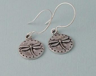 Dragon fly earrings, silver earrings