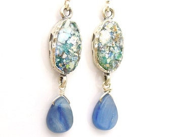 Kyanite chandelier earrings with oval roman glass