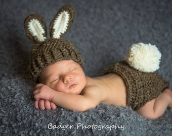 Brown Bunny Hat and Diaper Cover Photo Prop Costume, Easter Bunny Hat and Diaper Cover Set