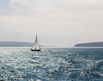 Ocean Photography, Coastal Decor, Sailboat Photograph, Soft Blue, Minimal Modern Art, Nautical Beach Decor, Maine Landscape, Nature, Summer