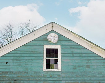 Blue Barn Photography, Rustic Photography, Rural Decay, Abandoned Barn, Old Farmhouse, Spring, Aqua Blue, Teal Blue, Aqua Barn, Cottage Chic