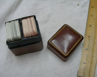 Miniature decks of playing cards in Italian Calf Leather box, ca1970s