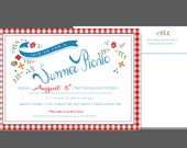 Picnic Invitation - Red and White Checker Summer Party Invitation with envelope return address printed
