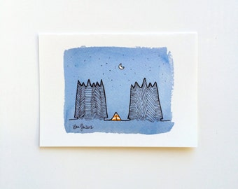 Camping in the Forest  in an Orange Striped Tent Greeting Card - For Travelers, Journeymen Adventurers Adventure Mountain