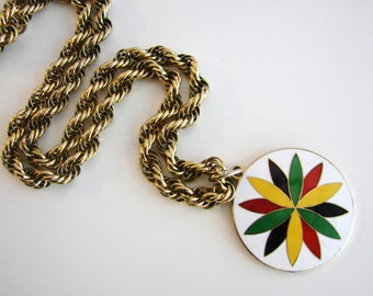 Vintage long twisted gold flower petal/ leaf necklace with white, red, yellow, green and blue (J3)