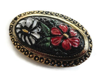 Hand Painted Victorian Glass Button - Vintage Floral c.1900