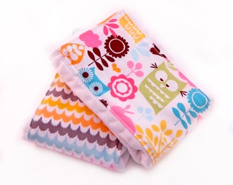 Owls & Scallops Baby Burp Cloths - Pink and Yellow- set of 2