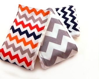Baby Burp Cloths - Navy Gray Red Orange Chevron- Set of 3 - Your Choice Boy or Girl // Cotton Burp Cloth / Baby Shower Gift