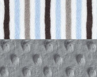 Minky Boy Baby Blanket, Personalized Blue Silver Gray White stripes Stroller