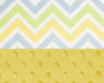 Chevron Minky Baby Blanket Girl Boy, Personalized Yellow Blue Green White Stroller