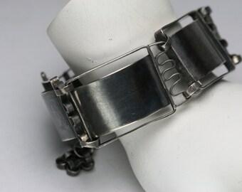 Vintage Silver Large Panel Link Bracelet