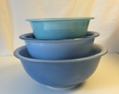 "Reserved for Steph Pyrex ""Blue Rainbow"" bowls, set of 3 never used!"