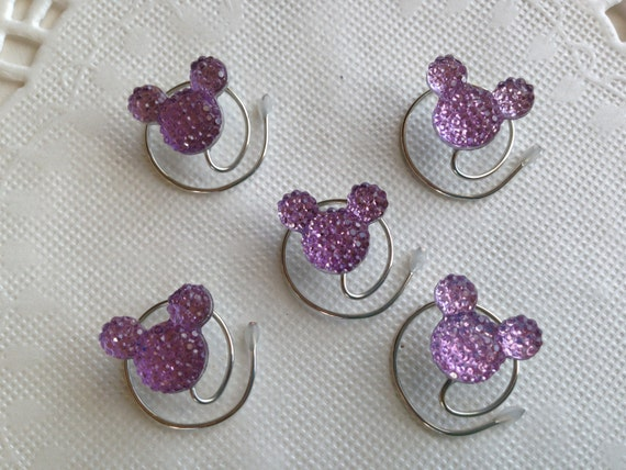 MOUSE EARS Hair Swirls for Disney Wedding in Dazzling Lilac Acrylic Hair Coils Hair Spins Hair Spirals Hair Accessory