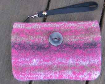 Pink With Gray Clutch Wristlet Hand Knitted Wool Custom Lined