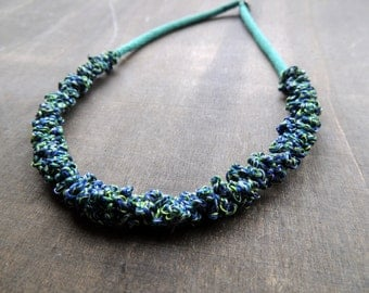 50 % sale: Ultra light crochet necklace in shades of blue turqoise and green perfect for summer