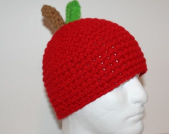 Red apple hat  - handmade crocheted hat - fun warm and unique - custom sizing available