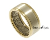 Modern Two Tone Bi-Metal Fingerprint Wedding Band in Sterling Silver and 14k Yellow Gold