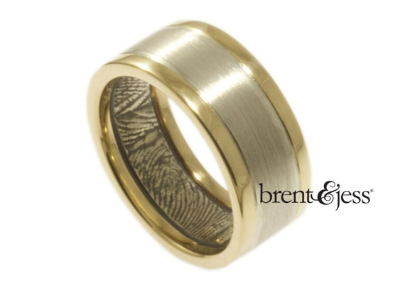 Modern Two Tone Bi-Metal Handcrafted  Fingerprint Wedding Band in Sterling Silver and 14k Yellow Gold
