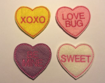 Conversation Hearts Pastel Pink Valentine's Day Embroidered Felt Applique