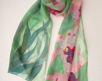 Silk Scarf Blossom Orchids Hand Painted silk scarf Apple green scarf shawl Silk scarves painted by hand Large floral scarf Mothers Day gifт