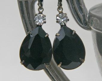 Jet Black Crystal Dangle Earrings