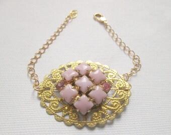 Vintage Pink Moonstone Rhinestone Gold Filigree Chain Bracelet